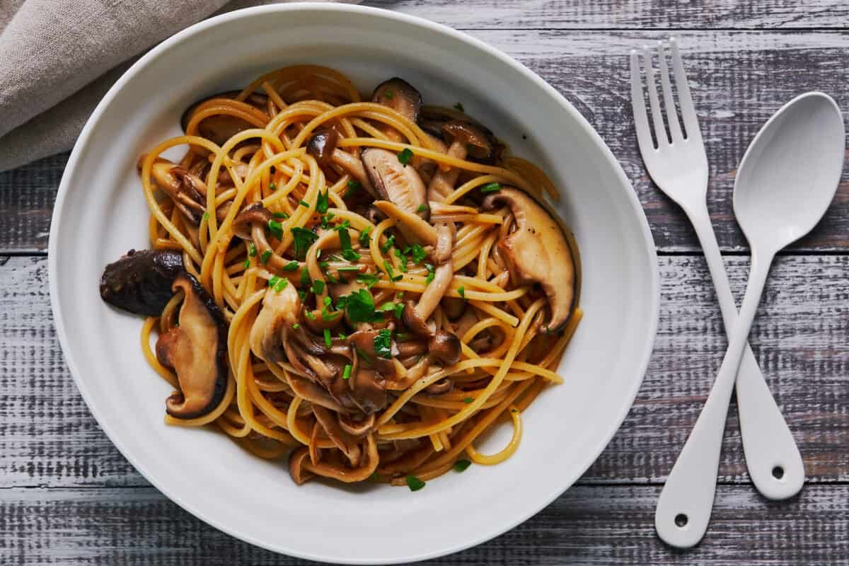 Japanese mushroom pasta with butter and soy sauce.