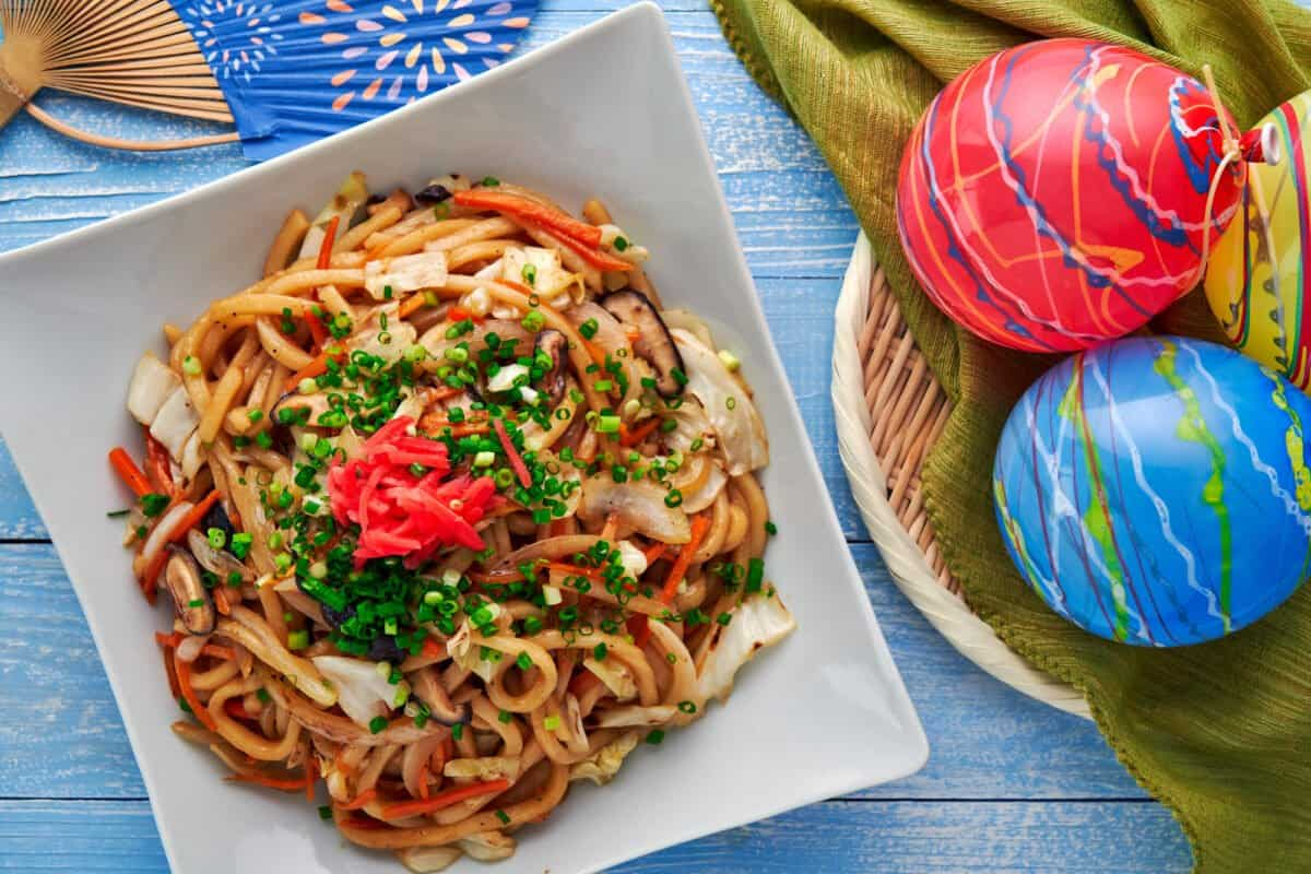 Yaki Udon, an easy udon noodle stir-fry made with cabbage, carrots, onions, and mushooms.