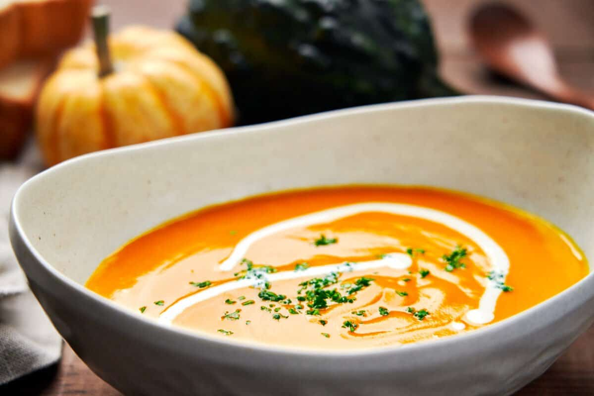 Kabocha Squash soup is a creamy, flavorful soup that can be thrown together from a handful of ingredients in about 30 minutes.
