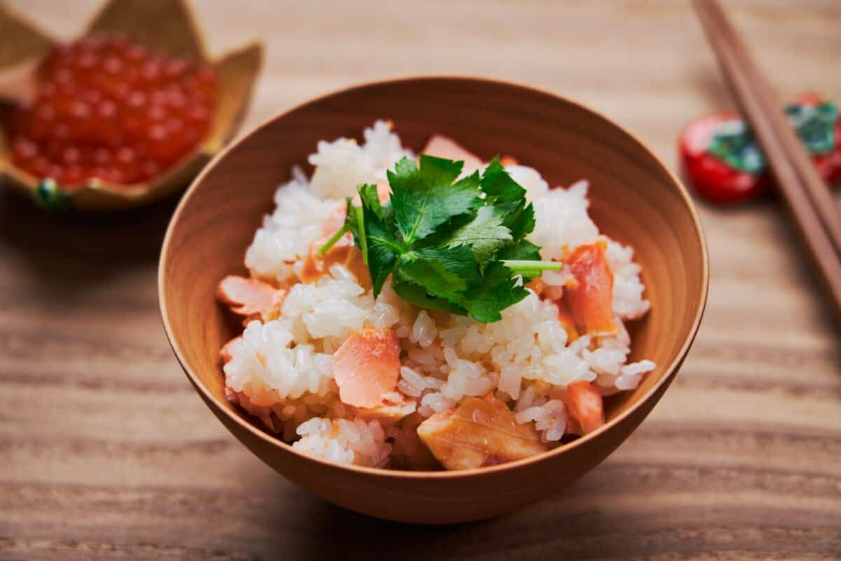 Japanese salmon rice is an easy one-pot meal made by salting salmon and steaming it on top of rice.