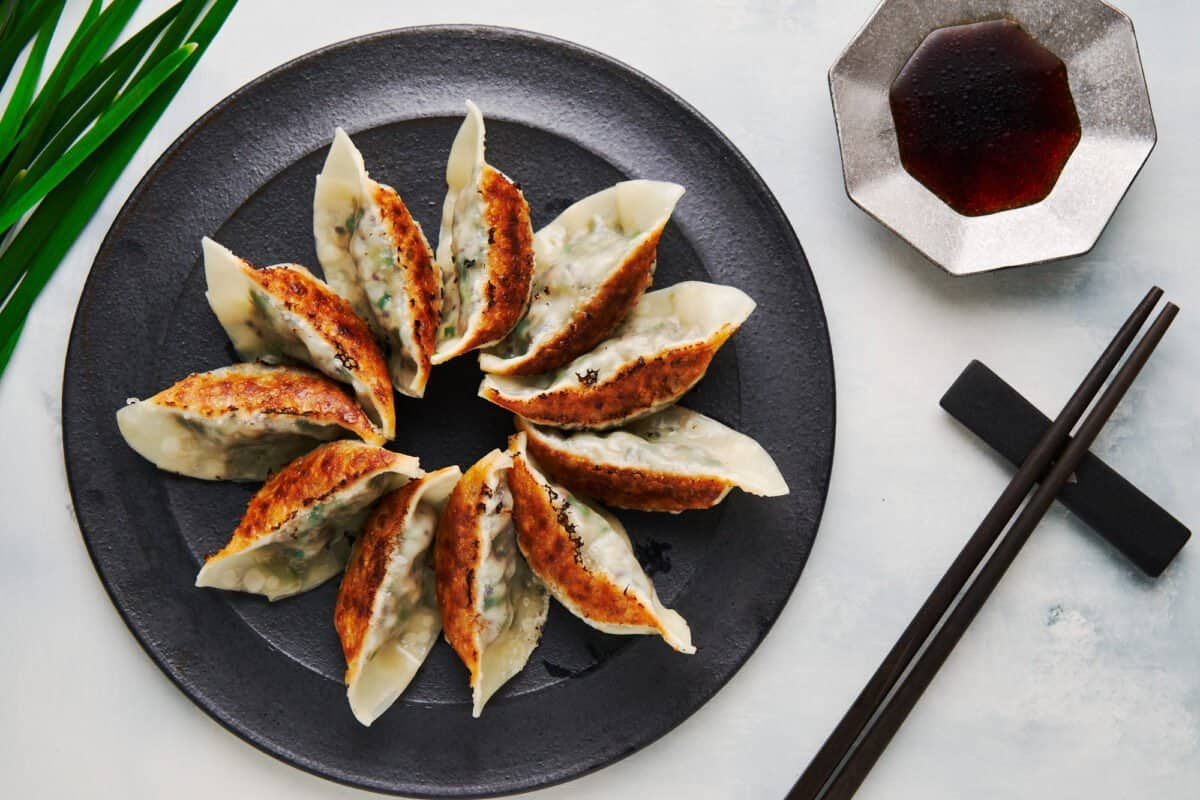 These meatless gyoza (Japanese dumplings) are just as flavorful as the original with a crisp pan-fried bottom and steamed noodly top.