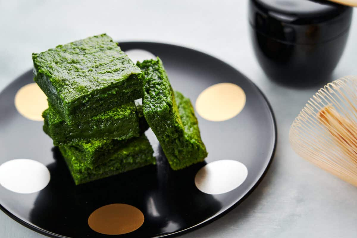 These matcha brownies start out as white chocolate blondies, but by adding some matcha green tea powder, they turn a vibrant green shade.