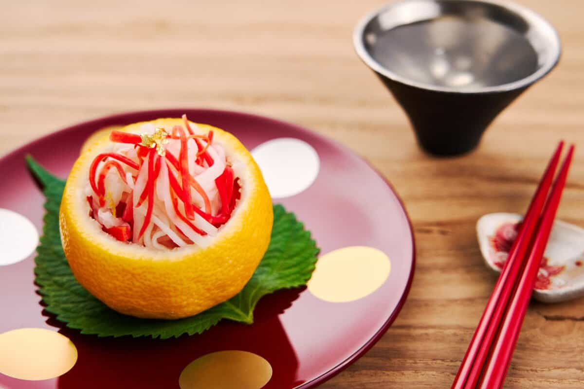 Pickled carrots and daikon or kohaku namasu is a classic Japanese side that makes for a refreshing salad to serve alongside grilled fish or braised meat.
