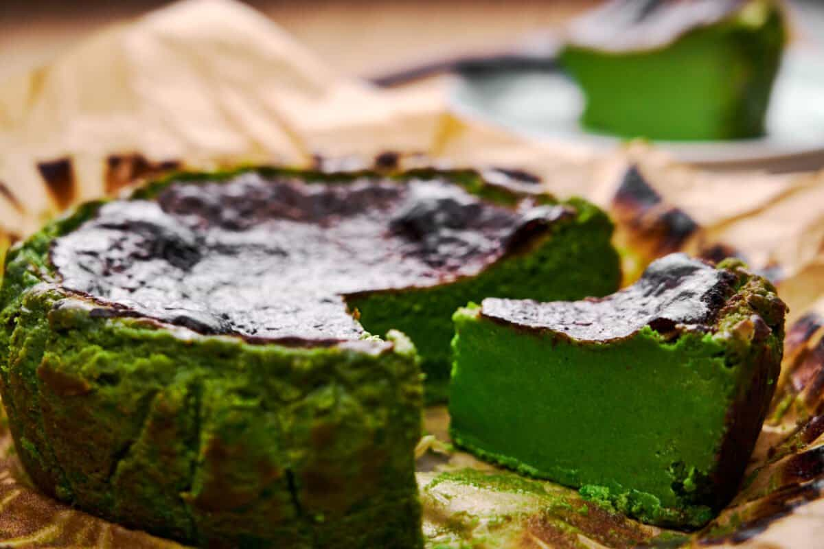 Burnt Basque Cheesecake is a ridiculously simple dessert that comes together from a handful of ingredients. Matcha (green tea powder) gives this one its vibrant green hue and fragrant flavor.