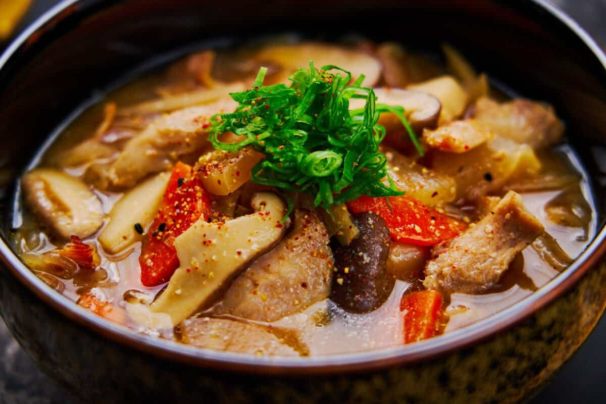 This easy Japanese pork and vegetable stew is a hearty miso soup that's perfect for a cool autumn day.