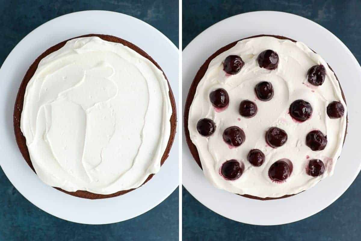 Two images side by side. First image is a cake with whipped cream spread over it. Second image is the same cake with Kirsch soaked cherries on top of the cream.