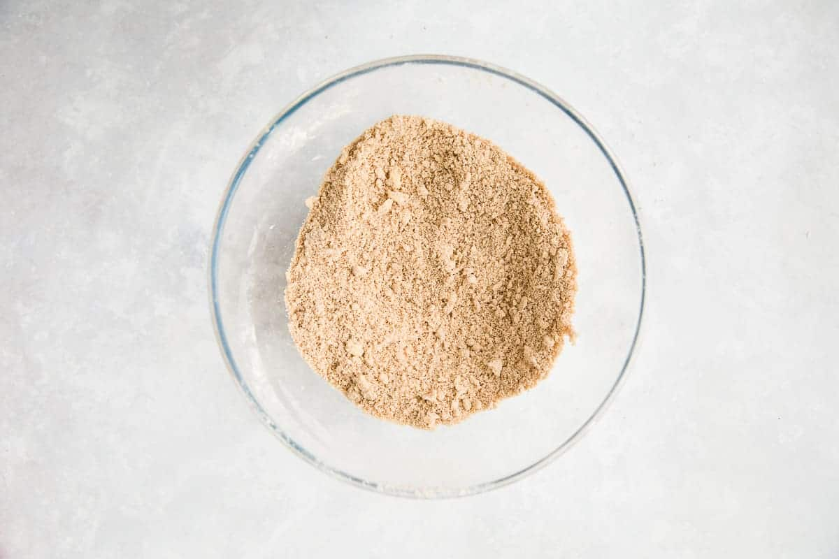 Cake mixture resembling fine bread crumbs.