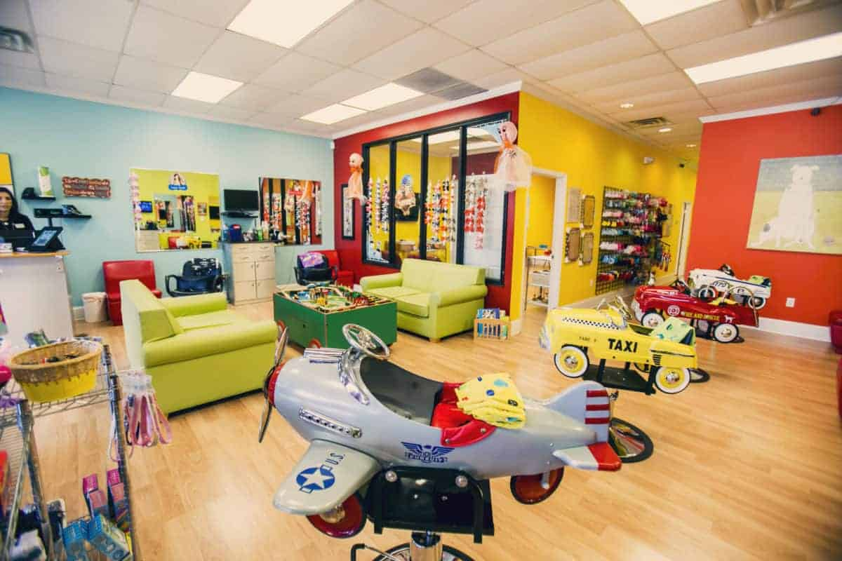 inside a pigtails & crewcuts kid's hair salon franchise