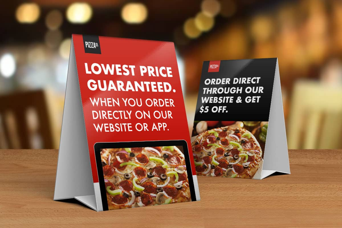 Table tent examples advertising direct delivery for restaurants