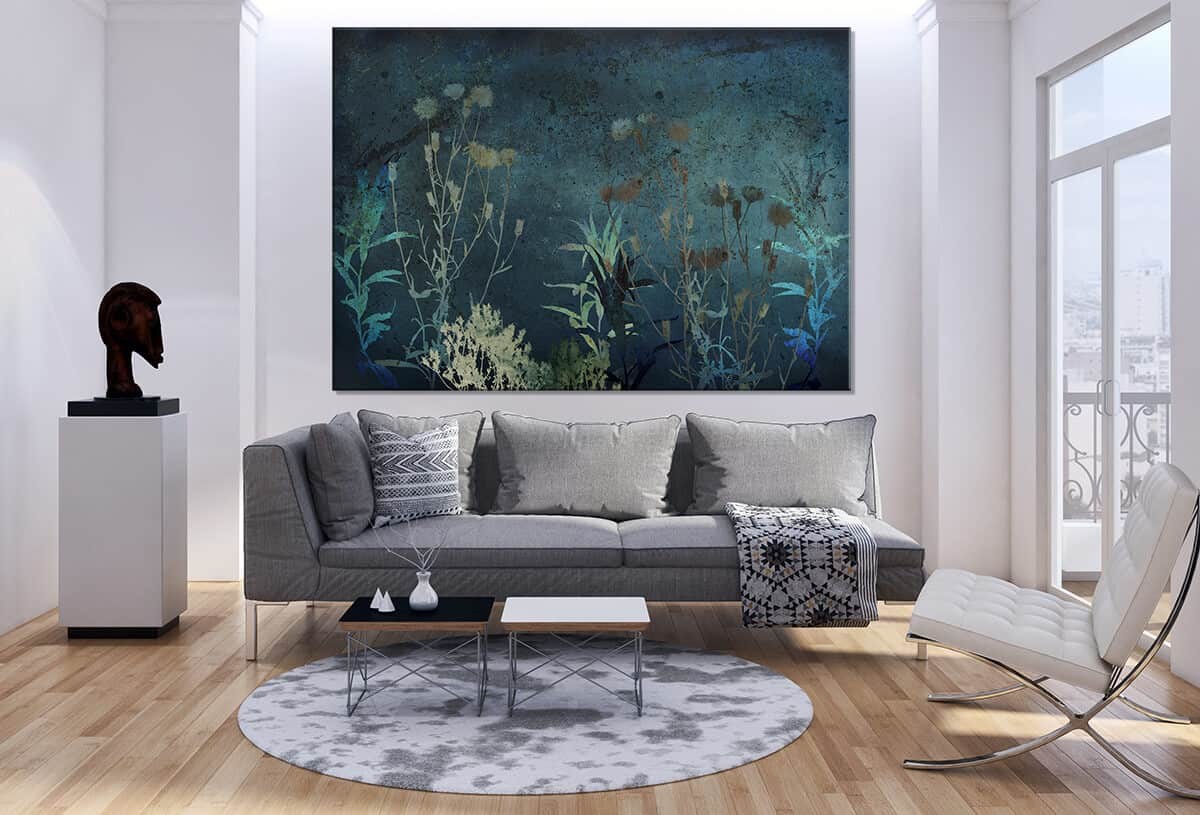 malarstwo na ścianie w nowoczesnym wnętrzu