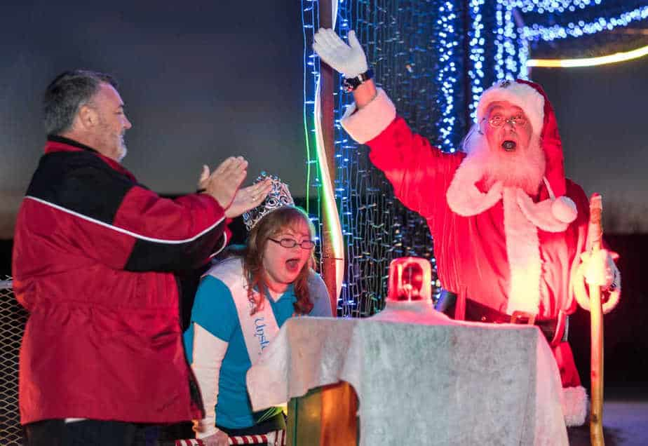 Visits with Santa Claus at the Arc of Sedgwick County Christmas lights drive-through