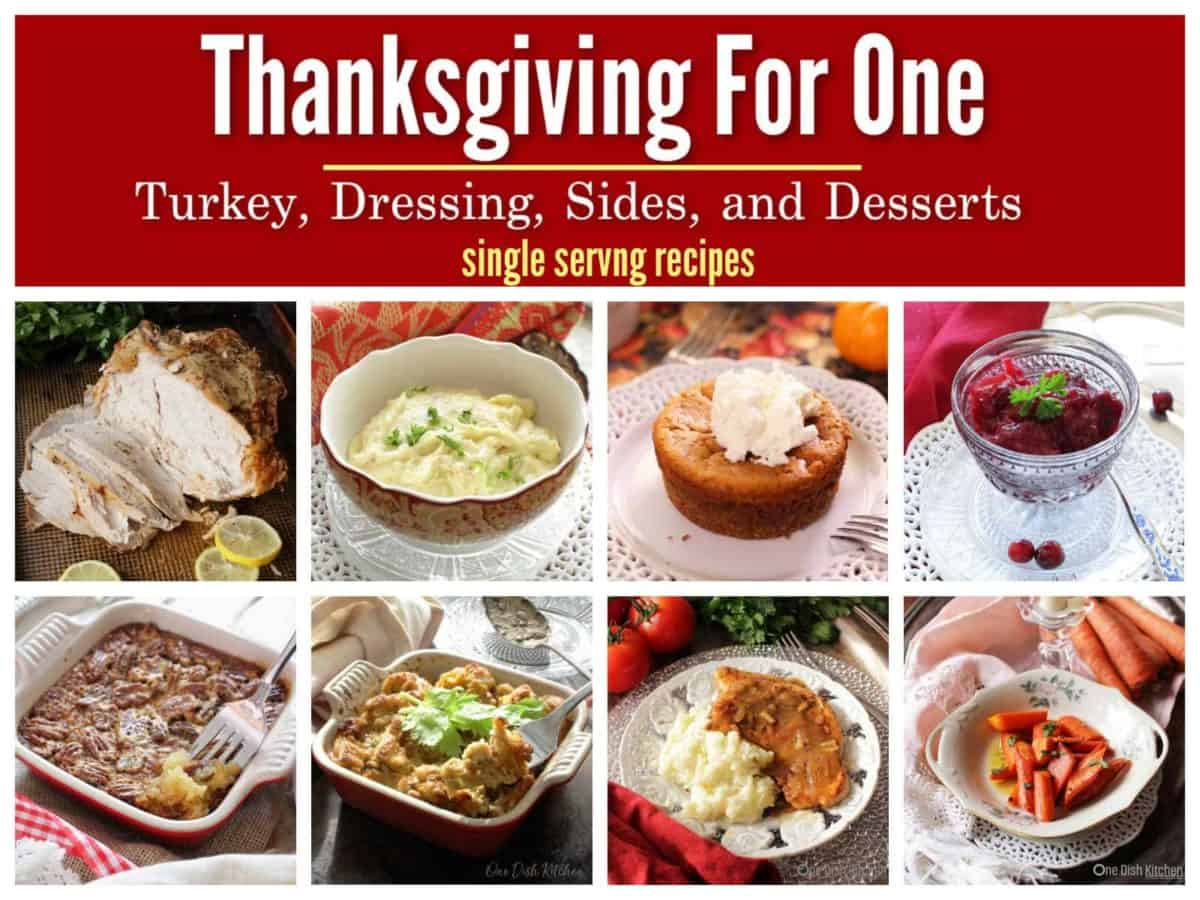 Eight pictures of single serving Thanksgiving dishes.