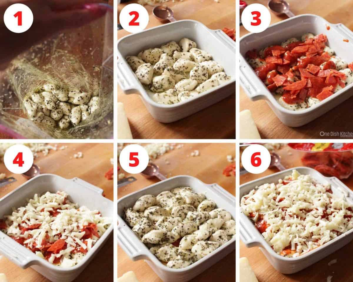 Six photos showing how to make pizza monkey bread in a small square baking dish.