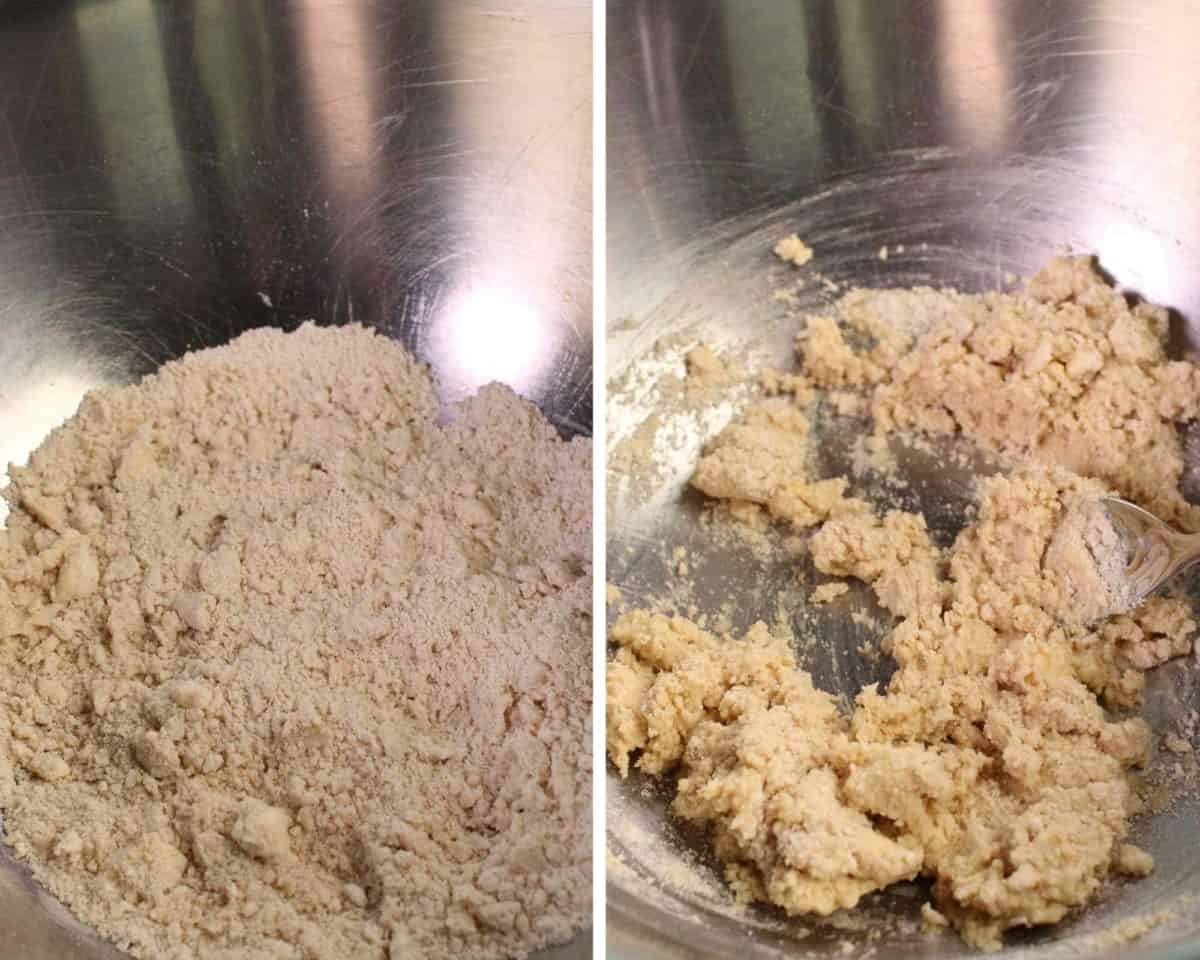 2 pictures of the dry ingredients for apple scones in a mixing bowl and the second photo showing mixed egg and milk with the dry ingredients.