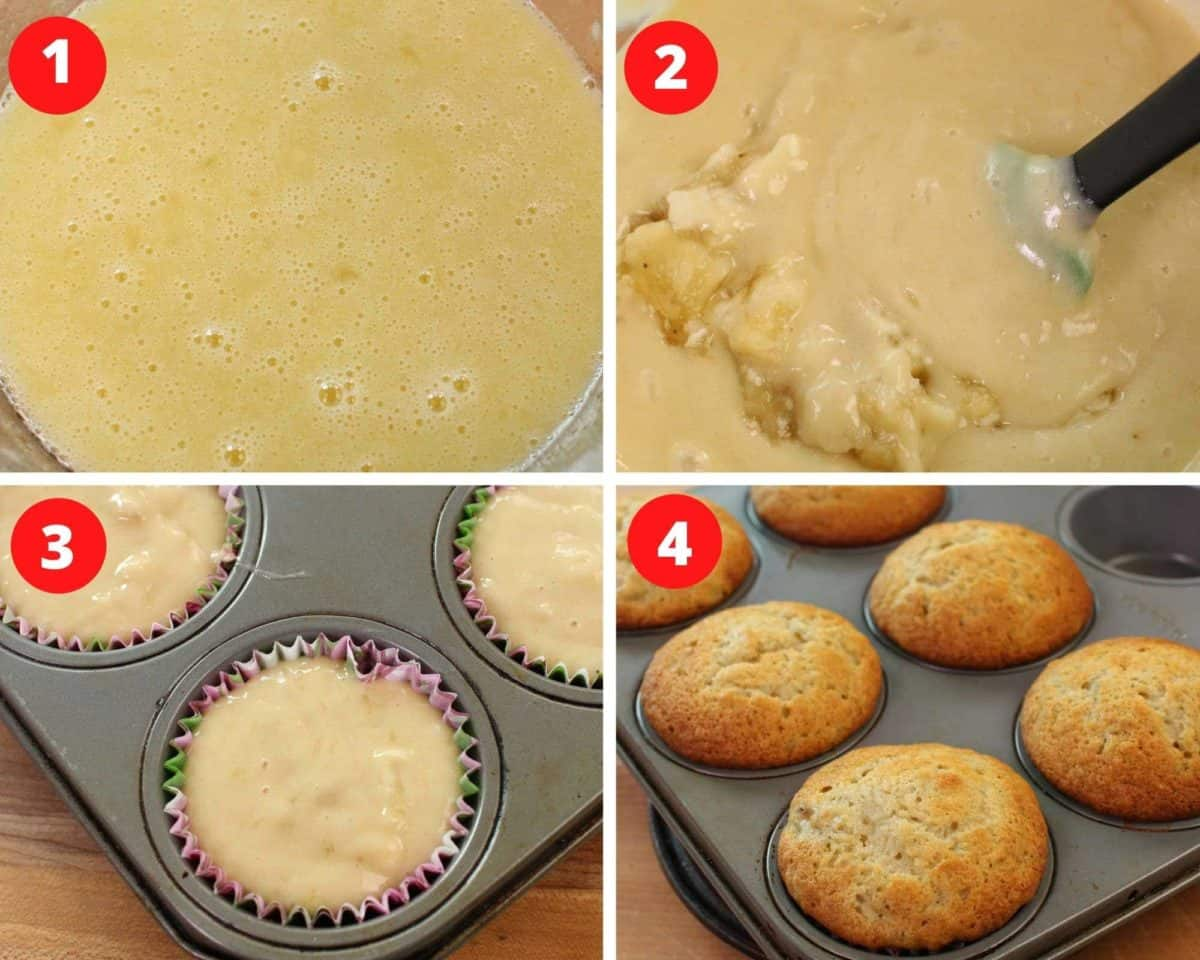 four pictures showing how to make banana muffins, from mixing the batter to pouring the batter into muffin tins.