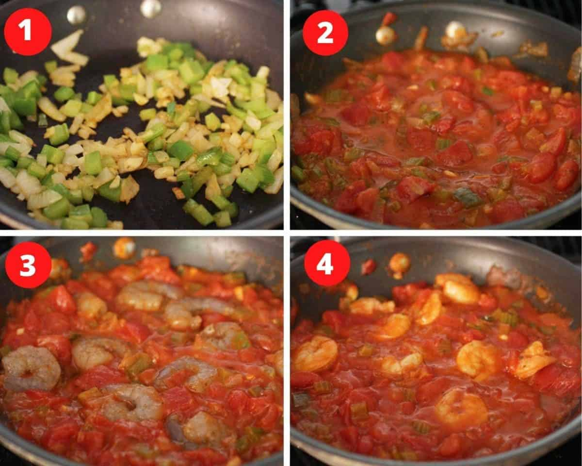 Four photos showing how to make shrimp creole with tomatoes in a pan.