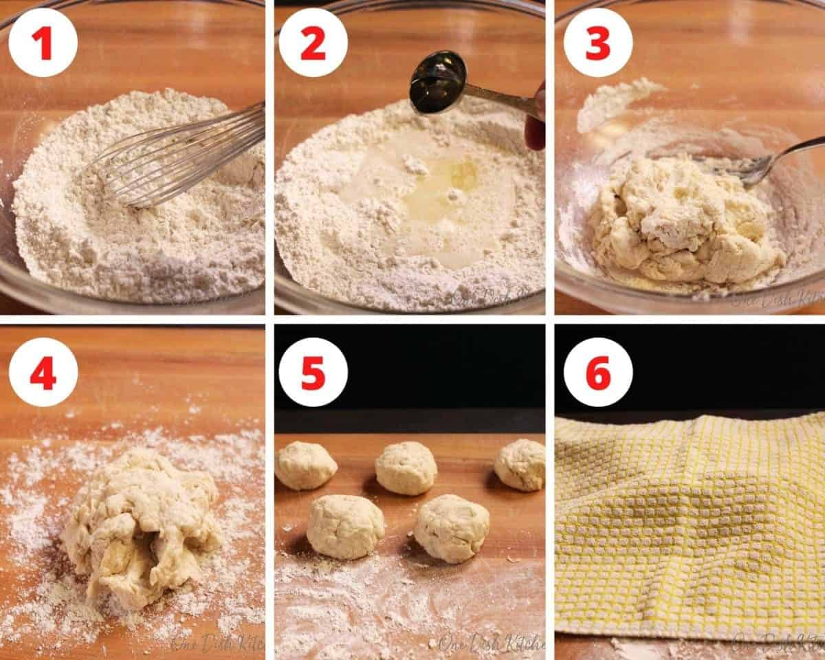 six pictures showing how to make the dough for flour tortillas