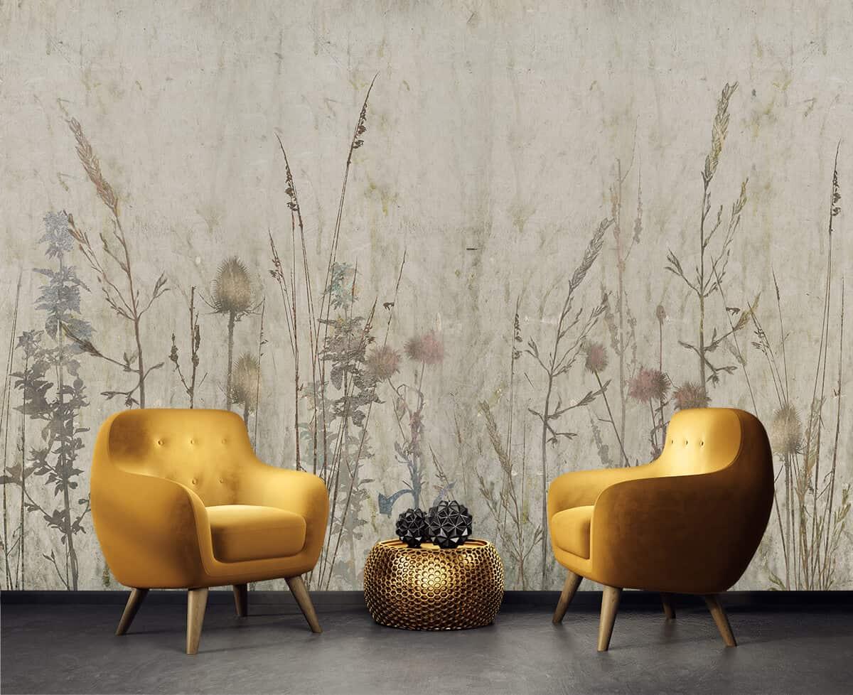 wnętrze salonu w stylu skandynawskim tapeta z motywem roślinnym Sekret