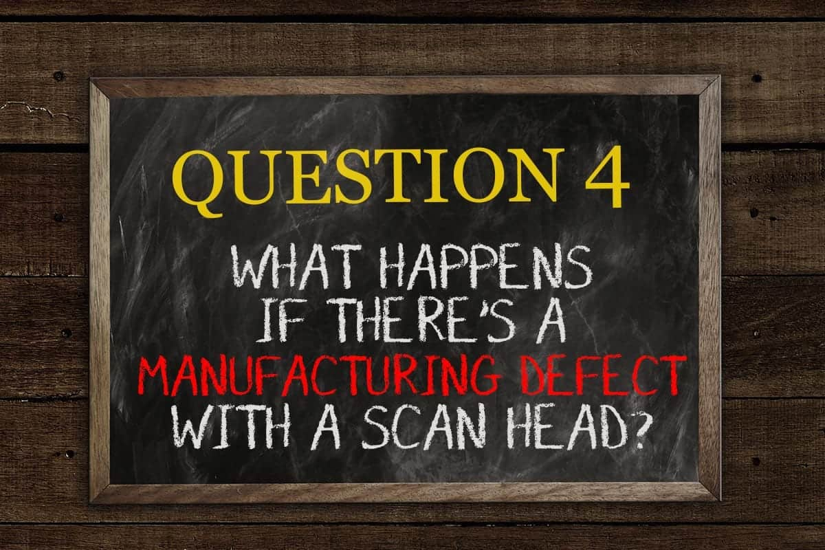 What happens if there's a manufacturing defect with a scan head?