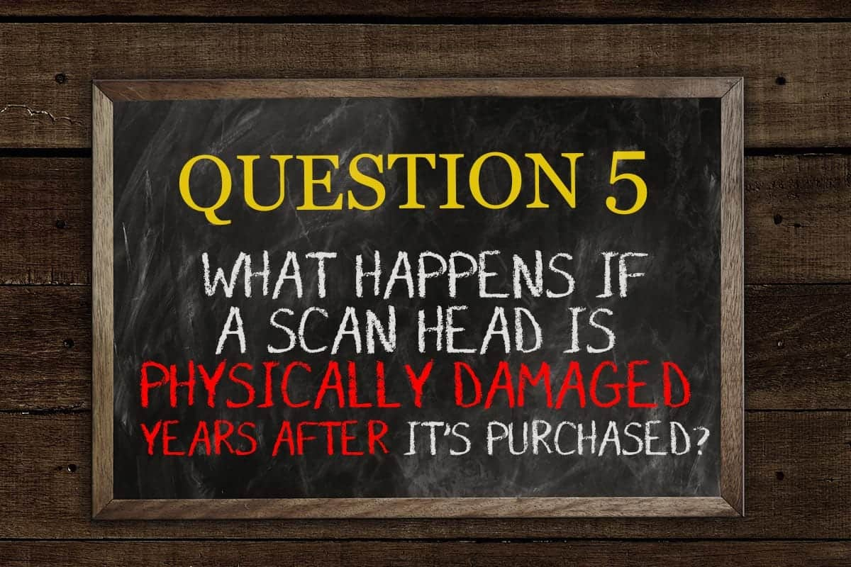What happens if a scan head is physically damaged years after it's purchased?