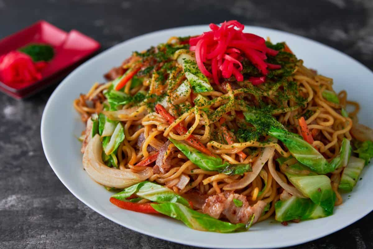 Yakisoba is an easy Japanese noodle dish made with noodles, vegetables and meat stir-fried with a spiced sweet and savory sauce.