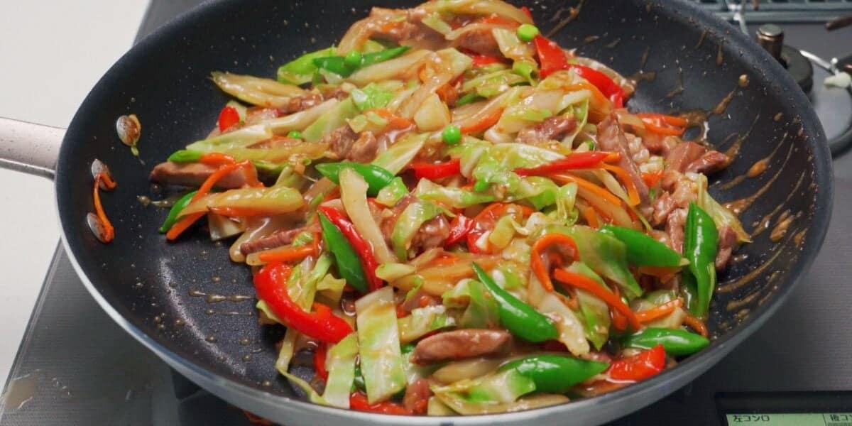 Chop Suey in a frying pan.