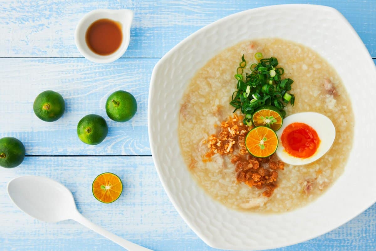 This creamy Filipino chicken and rice porridge(Arroz Caldo) is the ultimate comfort food.