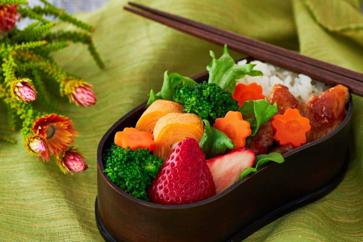 Recipe for a Japanese bento box lunch with Ginger Chicken, Tamagoyaki and a fresh medley of fruit and vegetables.