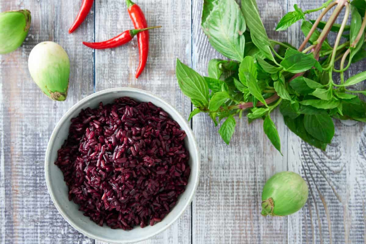 The deep purple-black hue of Riceberry is indicative of it's nutrient content and it has a rich meaty flavor that pairs well with Thai food.