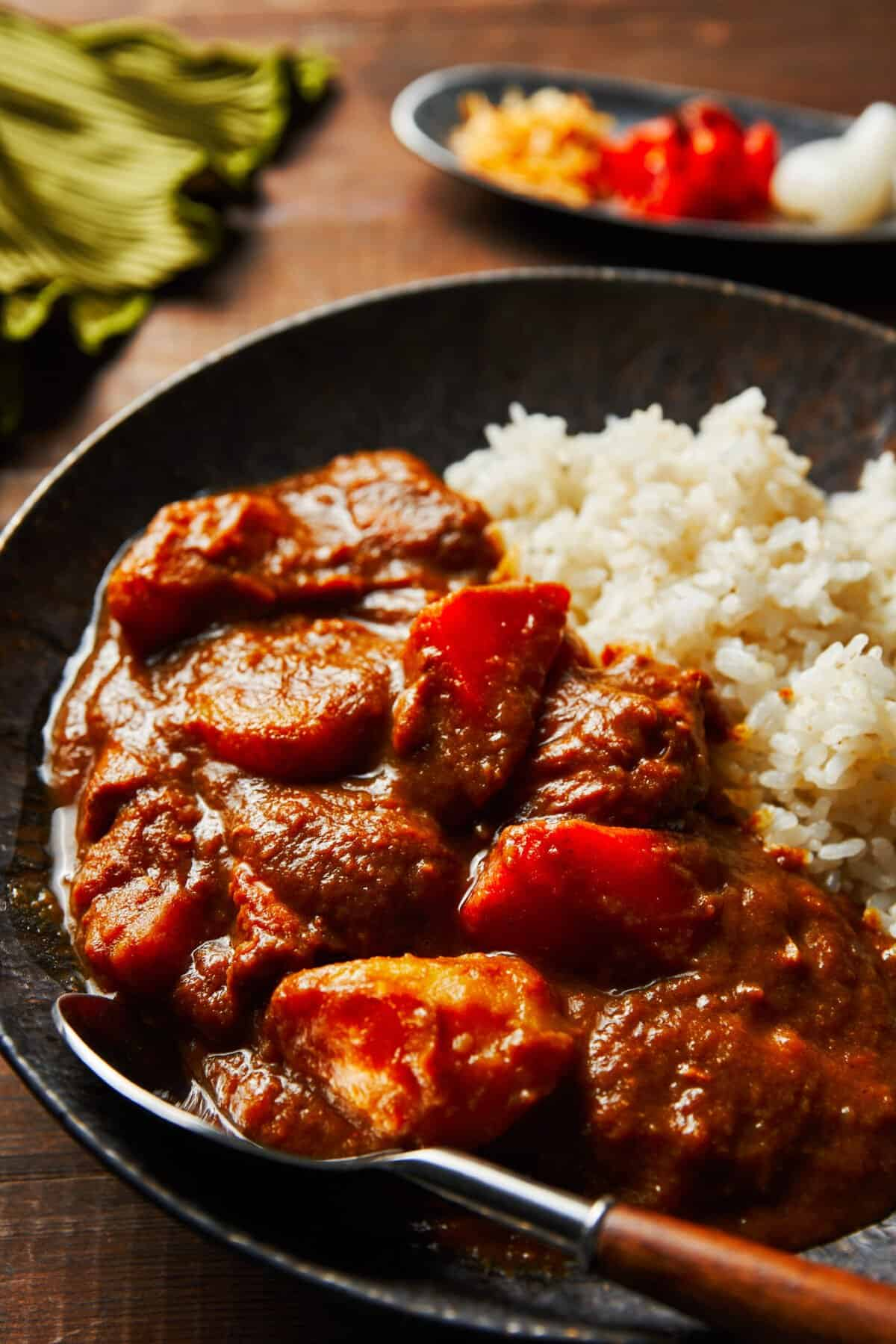 This Japanese Curry made from scratch gets its flavor and thickness through the power of fruits and vegetables. It's the perfect hearty winter meal for groups of kids and grownups alike.