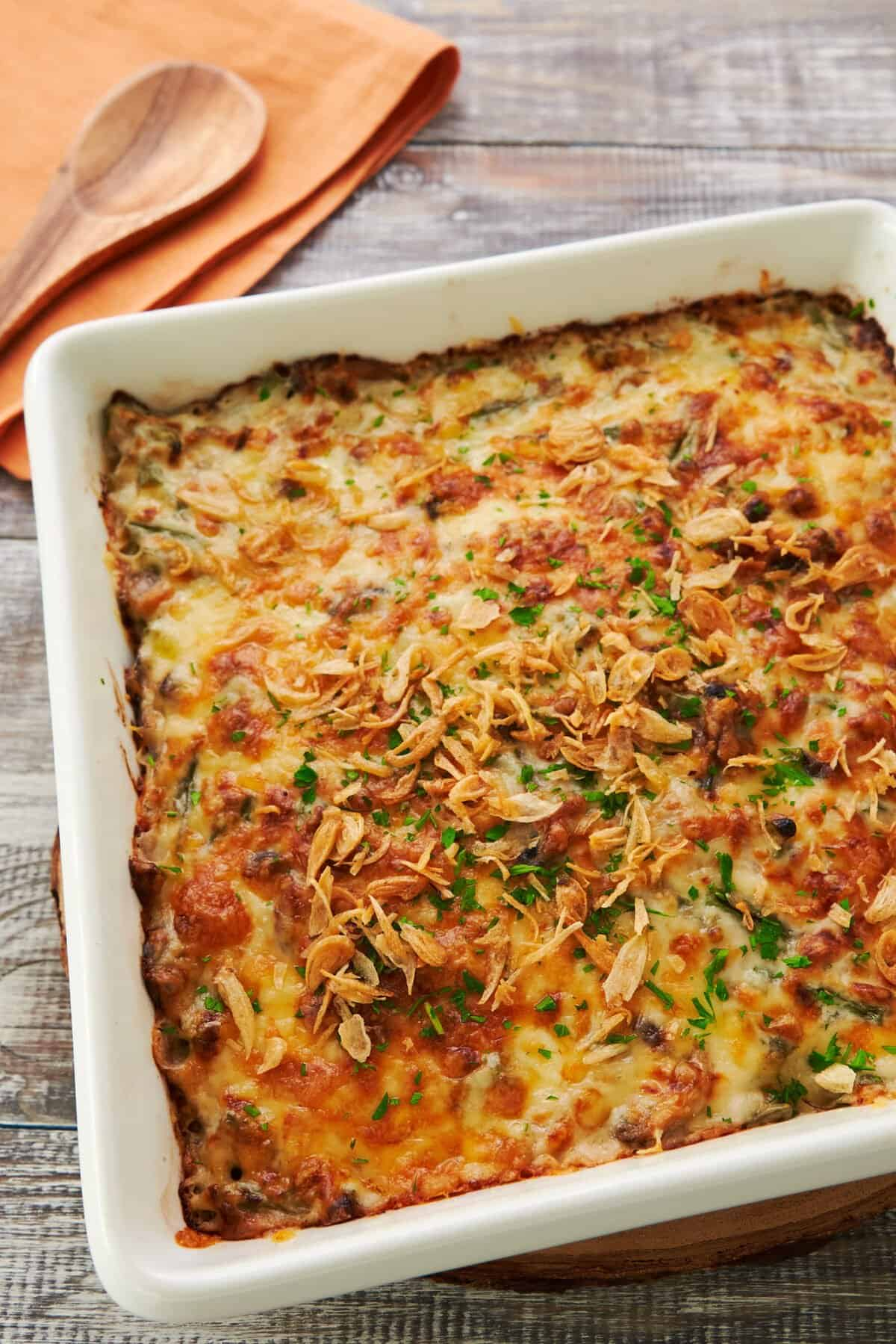 Doria is a comforting Japanese mushroom and rice casserole with a crisp layer of browned cheese covering a molten sea of bechamel sauce.