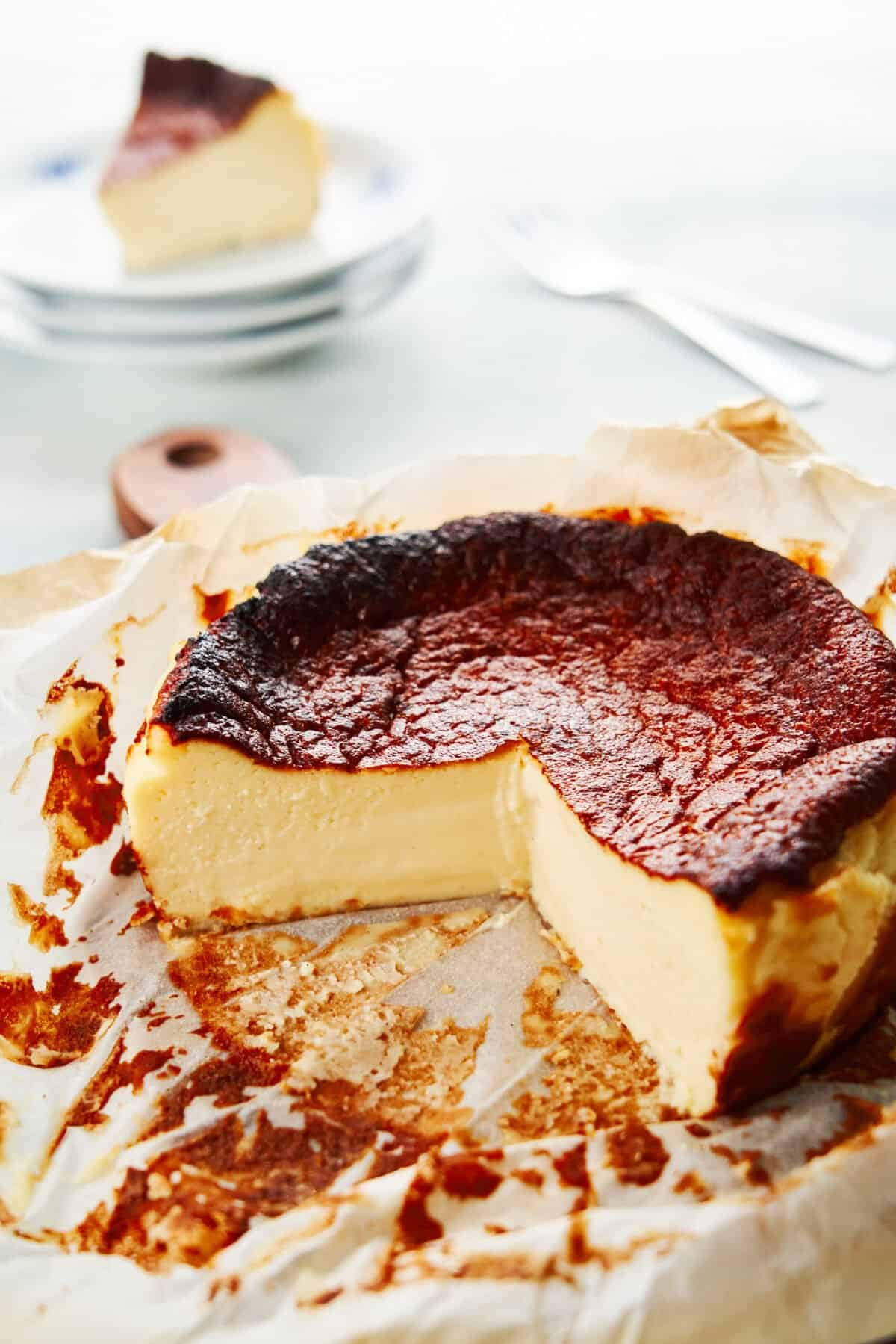 With a smooth custardy center and caramelized top, this ridiculously simple Burnt Basque Cheesecake recipe comes together from a handful of ingredients in a matter of minutes.
