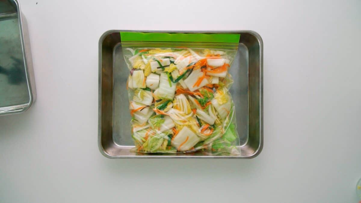 Japanese cabbage pickles in a zipper bag on a tray.