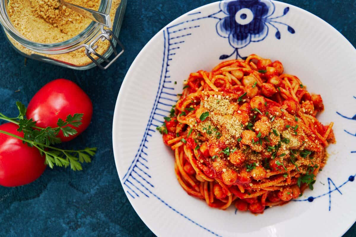 An easy pantry pasta made from canned chickpeas, jarred tomatoes, and dry spaghetti.