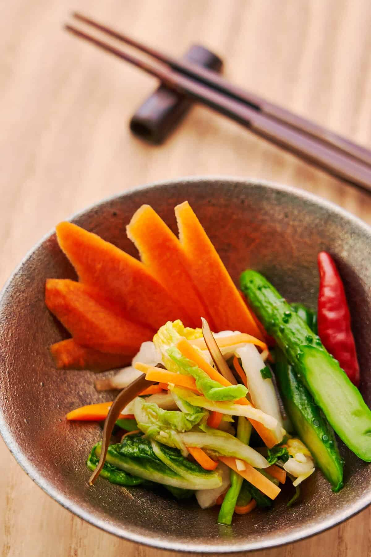 Pickling is a great way to preserve fresh vegetables, and this tutorial includes three easy ways to make traditional Japanese Pickles.