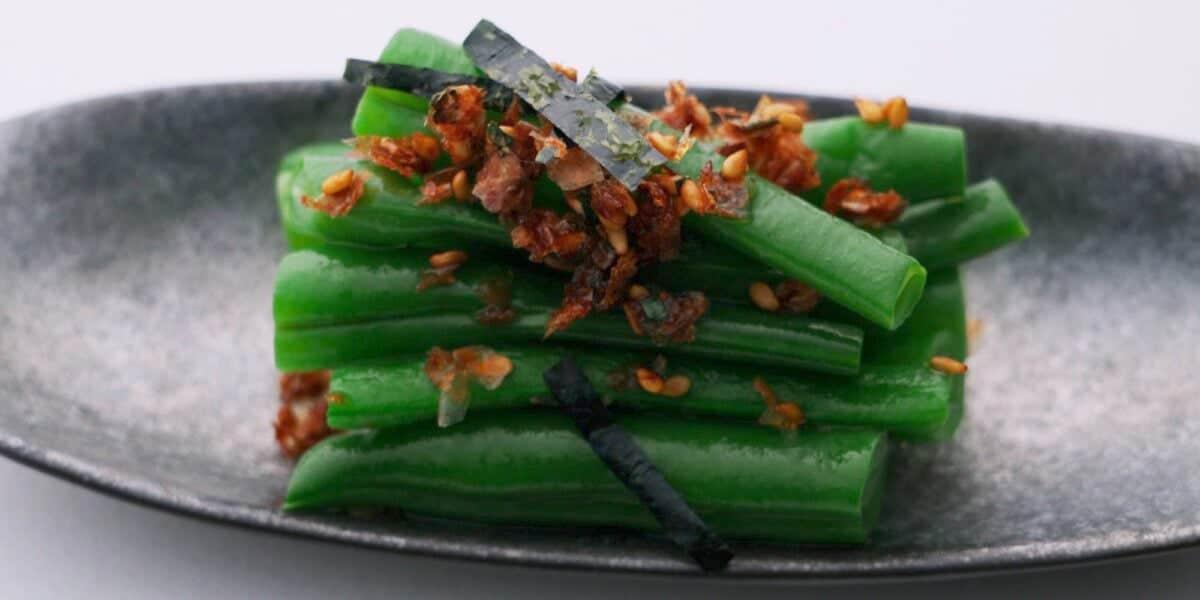 Green beans seasoned with Furikake and sesame oil.