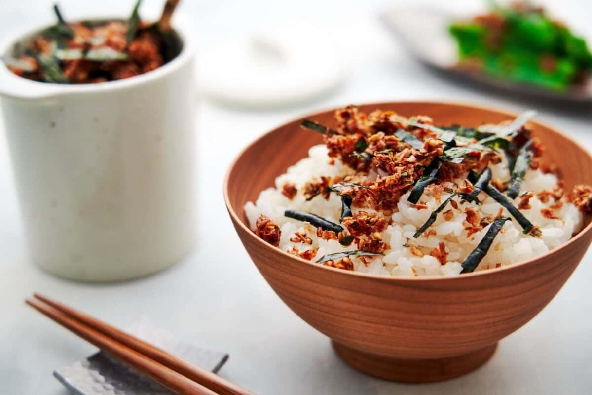 Crispy homemade furikake on a bowl of rice.