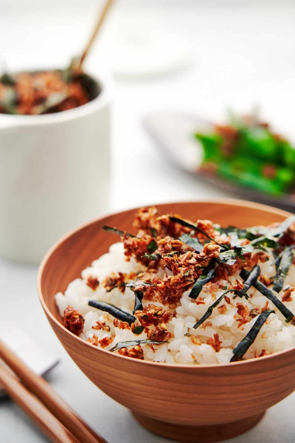 Make this delicious crispy Japanese rice seasoning with this Furikake recipe. Great on popcorn, Chex mix, and french fries.