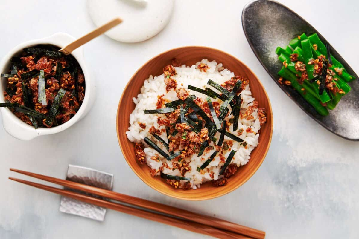 Furikake is an all-purpose Japanese condiment that's delicious on rice, green beans, or even popcorn.