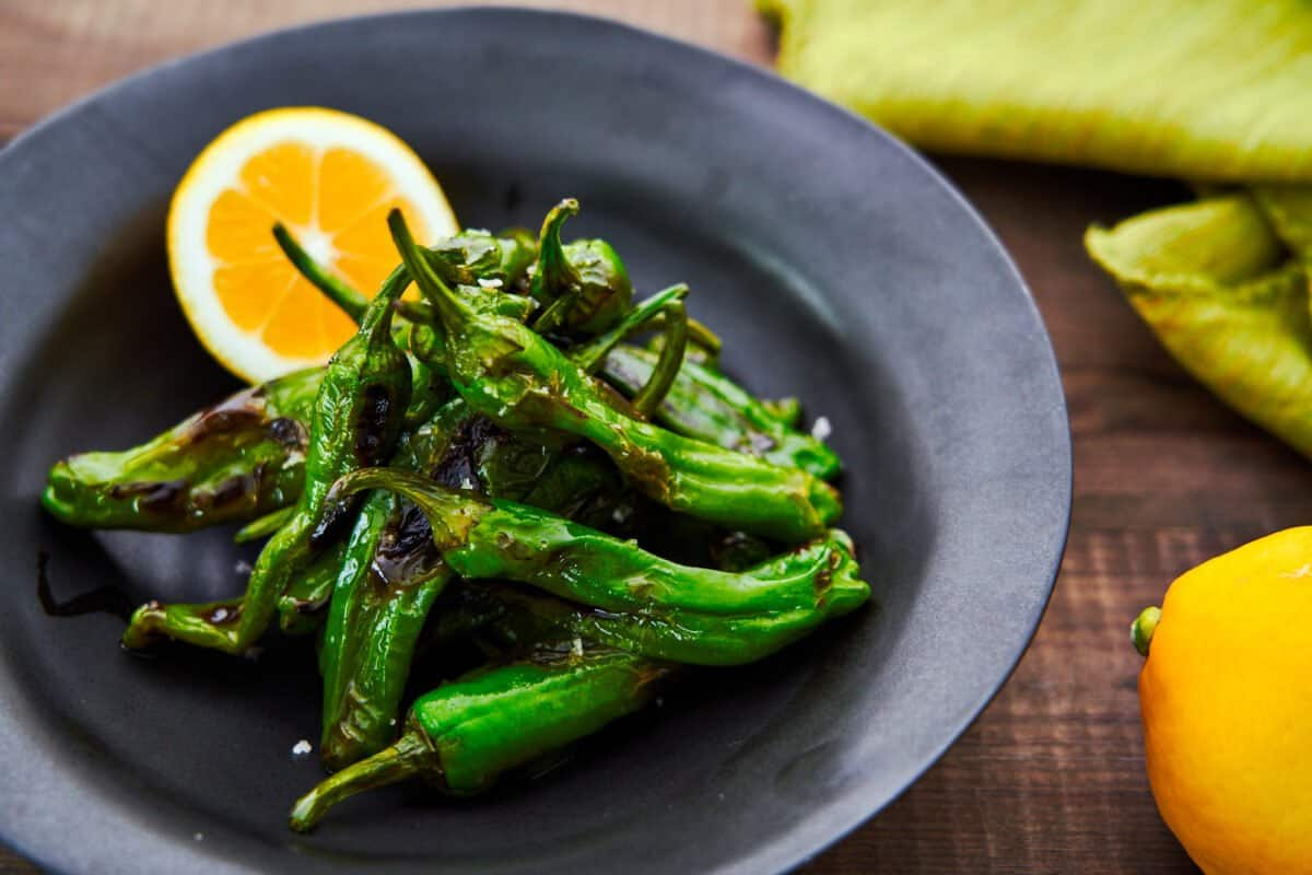 Char-grilled blistered shishito peppers with smoked salt and lemon.