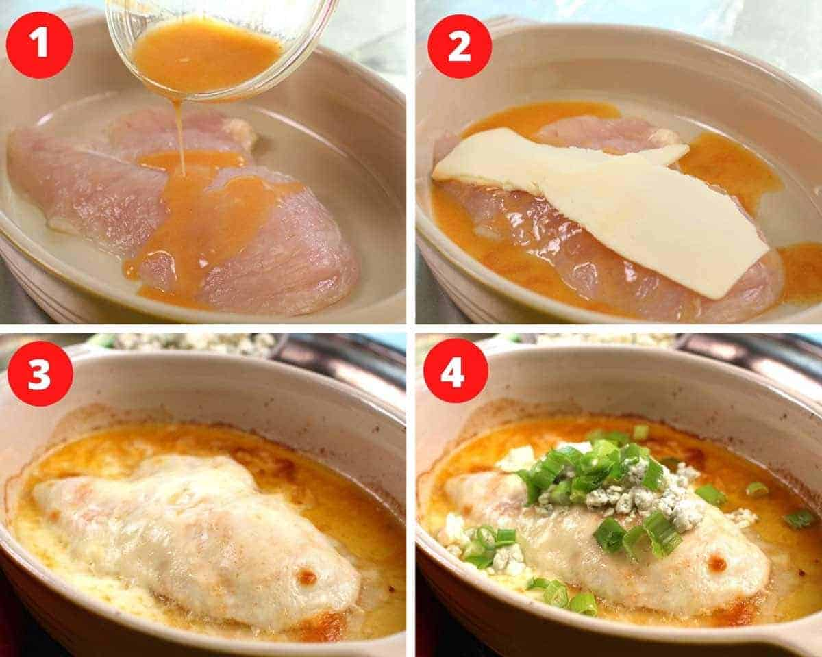 four photos showing how to make buffalo chicken.