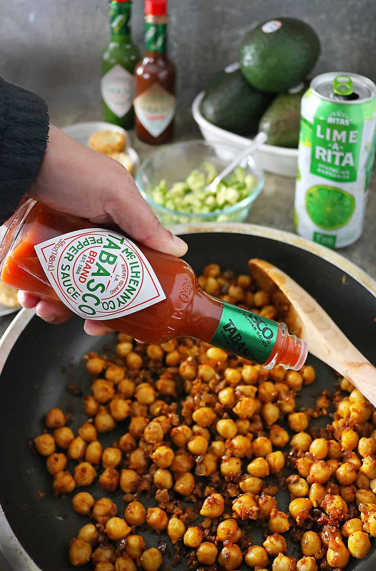 Making Chickpeas With TABASCO Pepper Sauce