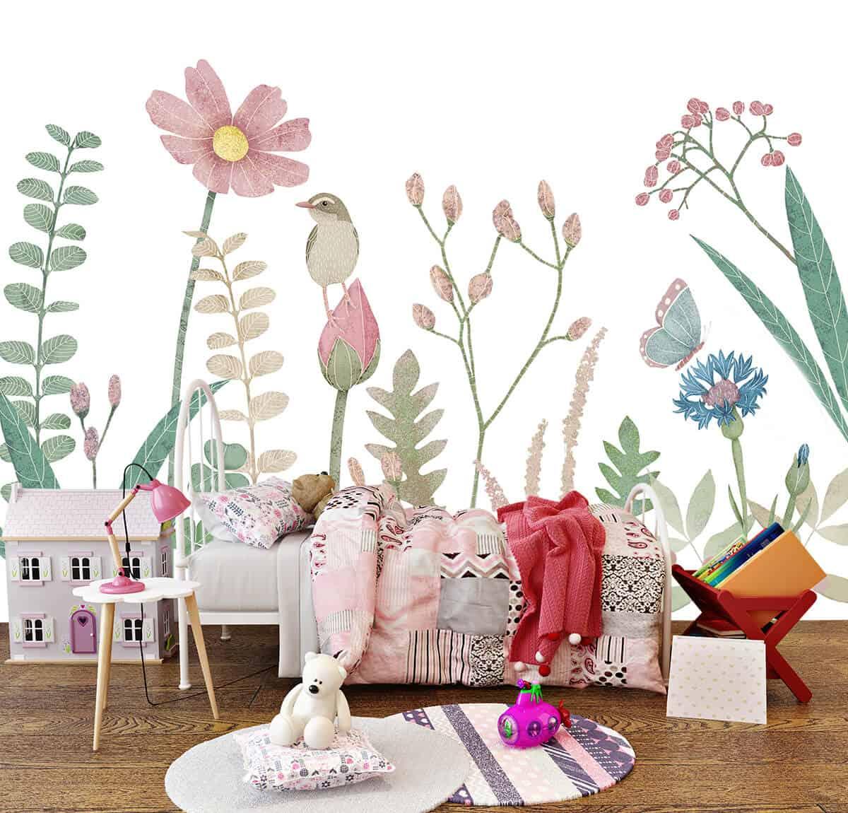 dekoracje do pokoju dziecięcego - tapeta z roślinami