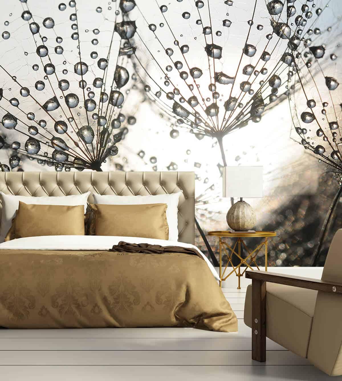 Pomysły na urządzenie sypialni - Tapeta na wymiar - W kroplach rosy