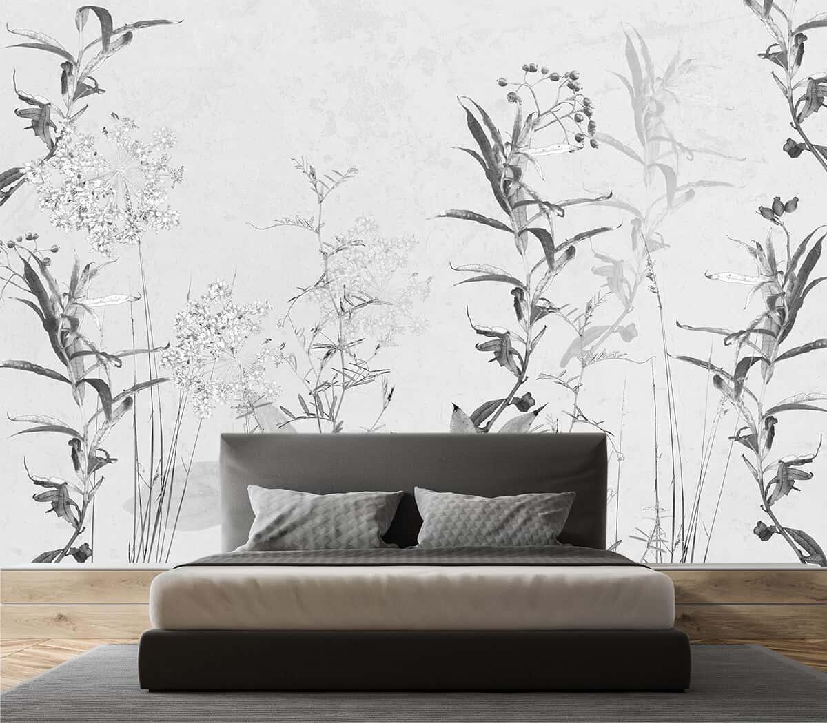 Tapety na wymiar do sypialni - Kwiaty Liście