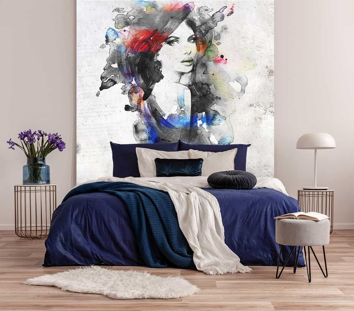 fototapeta ścienna w abstrakcyjny portret kobiety - tapety do sypialni