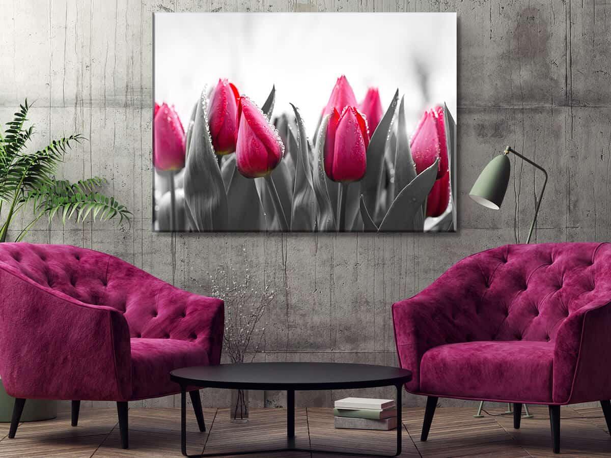 Nowoczesny obrazy do salonu Kwiaty Tulipany