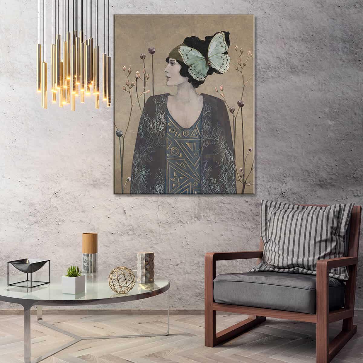 Nowocześnie urządzony salon na ścianie grafika w stylu modernistycznym