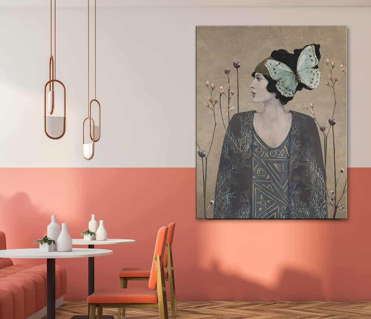 Kawiarnia urządzona w stylu modernistycznym na ścianie duży obraz na płótnie Kobieta