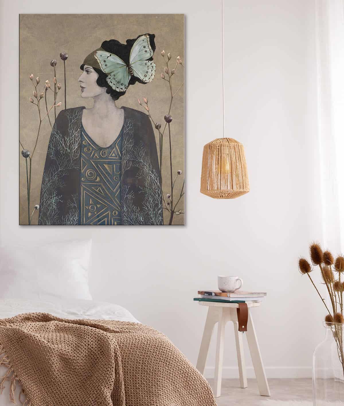 sztuka secesja w sypialni - kobieta portret